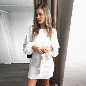 White Tie Front Dress with Baloon sleeve